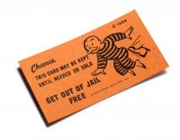 Get out of jail free card from Monopoly game can be negotiated